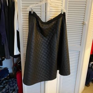 Leather look a line skirt